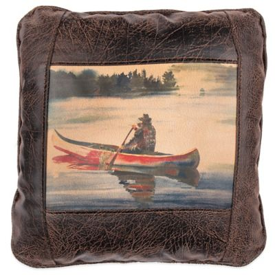 Sweetwater Trading Company Twilight Canoe Square Throw Pillow in Brown