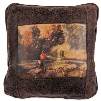 Sweetwater Trading Company Favorite Fishing Hole Square Throw Pillow in Brown