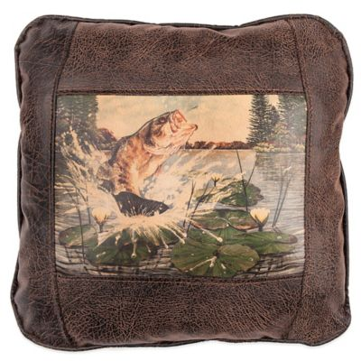 Sweetwater Trading Company Bass & Lily Pad Square Throw Pillow in Brown