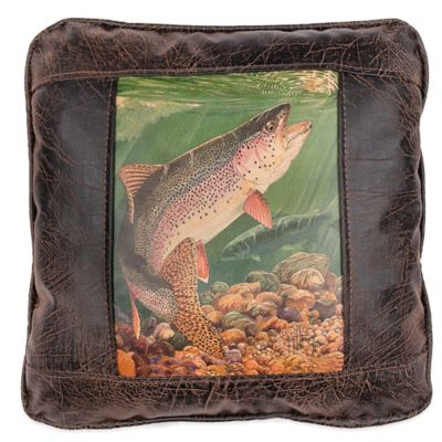 Sweetwater Trading Company Rainbow Trout Square Throw Pillow in Brown