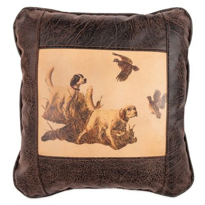 Sweetwater Trading Company Bird Dogs Square Throw Pillow in Brown