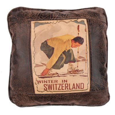 Sweetwater Trading Company Winter in Switzerland Square Throw Pillow in Brown