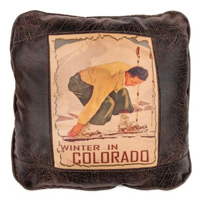 Sweetwater Trading Company Winter in Colorado Square Throw Pillow in Brown