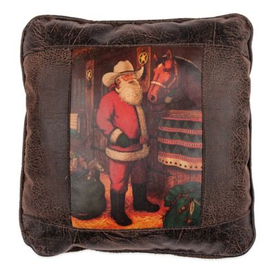 Sweetwater Trading Company Western Santa Square Throw Pillow in Brown