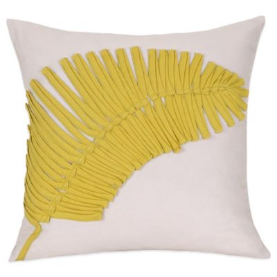 Palm Applique Square Throw Pillow in Linen
