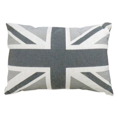 The Vintage House by Park B. Smith® Union Jack Tapestry Oblong Throw Pillow in Silver