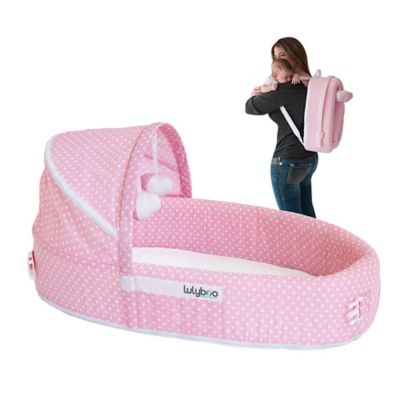 LulyBoo® Baby Lounge To-Go Travel Bed in Pink Dots