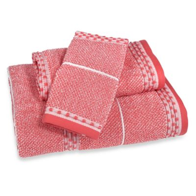 Heathered Fingertip Towel in Coral