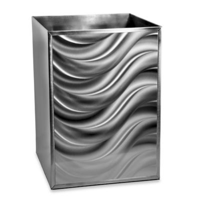 Moire Silver Wastebasket