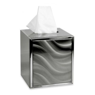 Moire Silver Boutique Tissue Box Cover