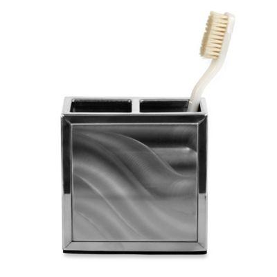 Moire Silver Toothbrush Holder