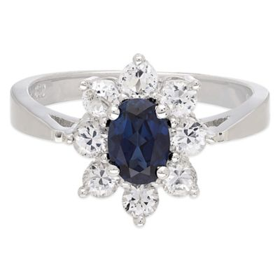 Sterling Silver Created Blue and Created White Sapphire Size 8 Ladies' Halo Ring