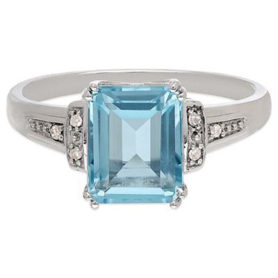 Sterling Silver .03 cttw Diamond and Framed Blue Topaz Size 7 Ladies' Ring