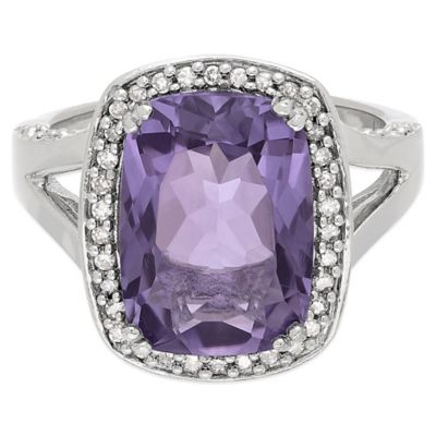 Sterling Silver Amethyst and White Topaz Size 7 Ladies' Split-Shank Ring
