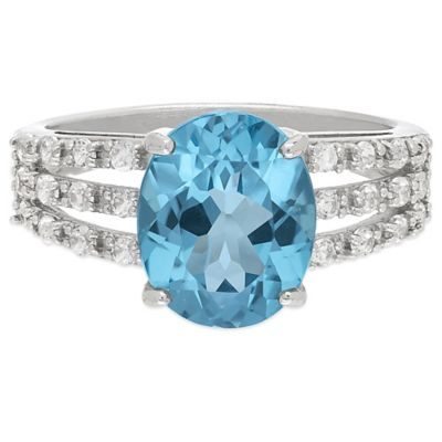 Sterling Silver Swiss Blue and White Topaz Size 7 Ladies' Triple Band Ring