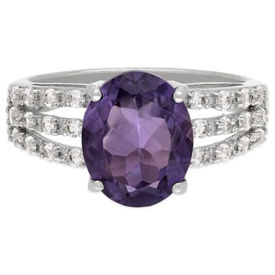 Sterling Silver Amethyst and White Topaz Size 7 Ladies' Triple Band Ring