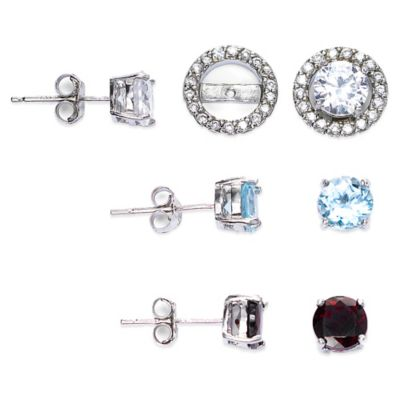 Sterling Silver White Topaz Post Earring Jacket Set in White Topaz, Blue Topaz, and Garnet