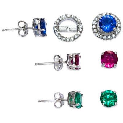 Sterling Silver Created White Topaz and Created Ruby, Sapphire, and Emerald Post Earring Jacket Set