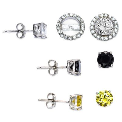 Sterling Silver Cubic Zirconia Post Earring Jacket Set in White, Black, and Light Yellow