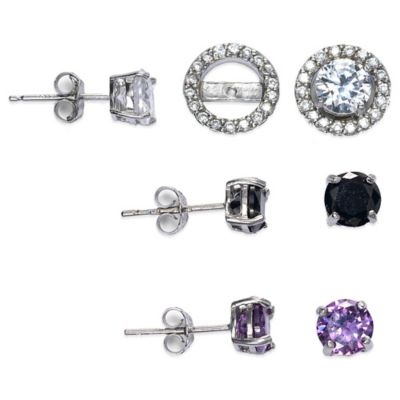 Sterling Silver Cubic Zirconia Post Earring Jacket Set in White, Black, and Purple