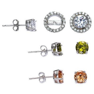 Sterling Silver Cubic Zirconia Post Earring Jacket Set in White, Olivine, and Champagne