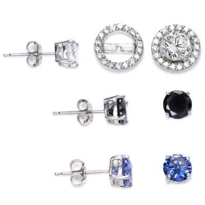 Sterling Silver Cubic Zirconia Post Earring Jacket Set in White, Black, and Lab-Created Tanzanite