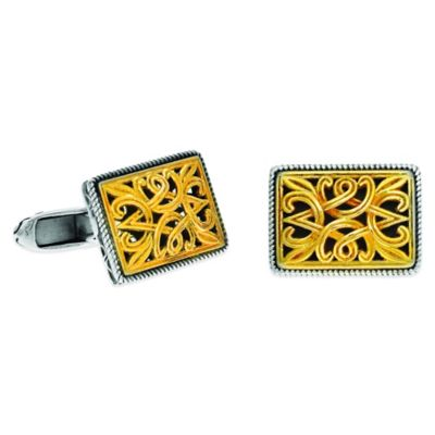 Phillip Gavriel Sterling Silver and 18K Yellow Gold Rectangular Scroll Cufflinks