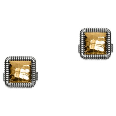 Phillip Gavriel Sterling Silver and 18K Yellow Gold Hammered Square Cufflinks