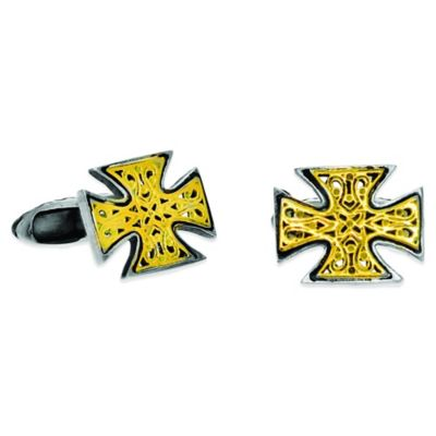 Phillip Gavriel Sterling Silver and 18K Yellow Gold Cross Cufflinks