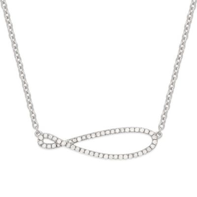 Sterling Silver .25 cttw Diamond 17-Inch Chain Infinity Twist Necklace