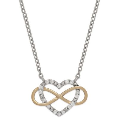 Sterling Silver and 14K Rose Gold .16 cttw Diamond Open Heart Infinity Pendant Necklace
