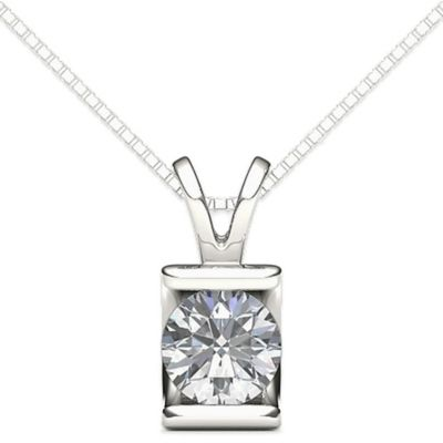 Sterling Silver .20 cttw Solitaire Diamond Union Square 18-Inch Chain Pendant Necklace