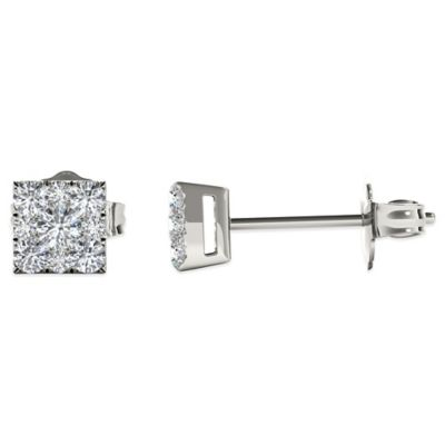 Sterling Silver .50 cttw Square Diamond Composite Cluster Stud Earrings