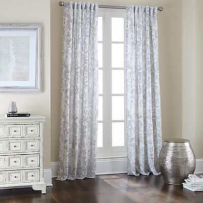 Noelle Rod Pocket/Back Tab 84-Inch Window Curtain Panel in White/Silver