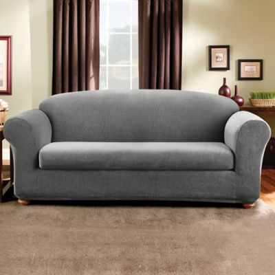 Sure Fit® Madison Stripe 2-Piece Sofa Slipcover in Brown