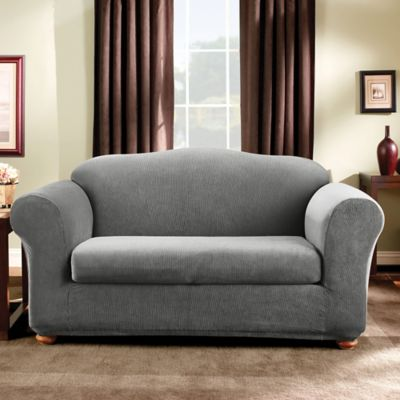 Sure Fit® Madison Stripe Loveseat Slipcover in Grey