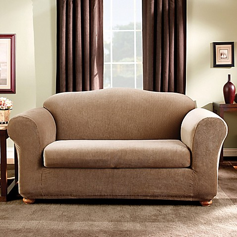 Buy Sure Fit 174 Madison Stripe Loveseat Slipcover In Brown