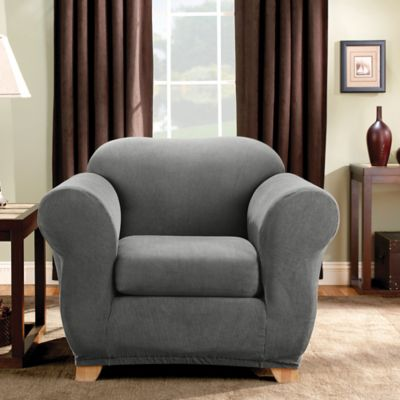 Sure Fit® Madison Stripe Chair Slipcover in Grey