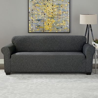 Sure Fit® Designer Denim 1-Piece Sofa Slipcover in Black