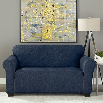Sure Fit® Designer Denim 1-Piece Loveseat Slipcover in Dark Indigo