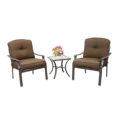 Hawthorne 3-Piece Deep Seating Chair Set in Tan