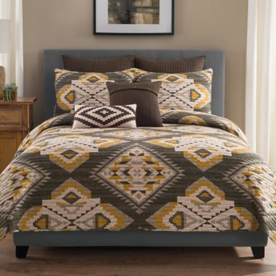 Sierra Full/Queen Quilt in Grey/Gold