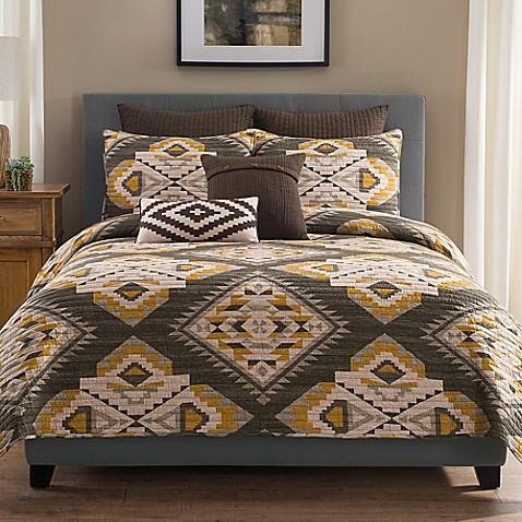 buy sierra full queen quilt in grey gold from bed bath beyond. Black Bedroom Furniture Sets. Home Design Ideas