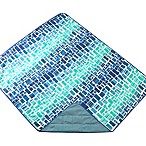 Out & About Indoor/Outdoor Water Repellent Tile Travel Throw Blanket in Teal