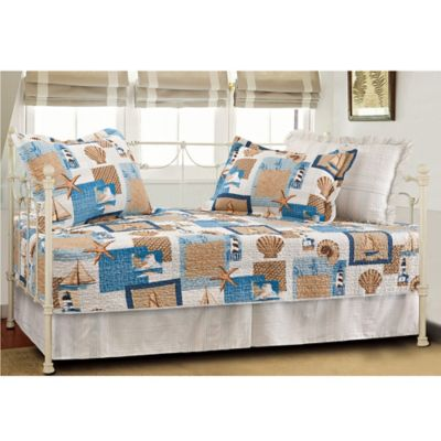 Beachcomber Coastal Quilted Reversible Daybed Set in Multi