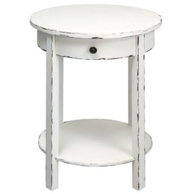 Round 2-Tier Wooden Accent Table in Distressed White