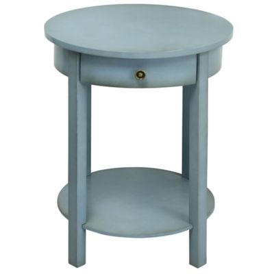 Round 2-Tier Wooden Accent Table in Light Blue