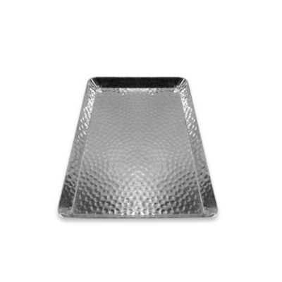 Hammered Aluminum Small Rectangular Vanity Tray