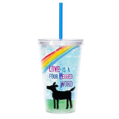"CR Gibson ""Love is a Four Legged Word"" Dog Lover 16 oz. Acrylic Tumbler with Lid and Straw"