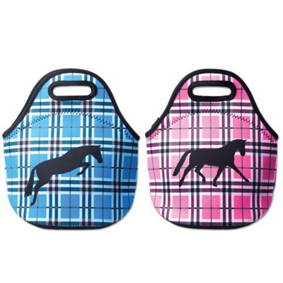 Tek Trek Neoprene Zippered Lunch Tote with Black Horse Graphic in Blue Plaid